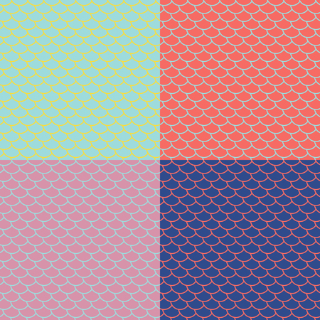 Set of fish scales seamless patterns, colored marine backgrounds, fairy mermaid tail or scales of the dragon , vector illustration
