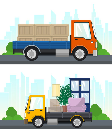 Set of Transportation Services and Logistics, Lorry with Furniture and Small Truck with Boxes Drive on the Road, Shipping and Freight of Goods, Vector Illustration Ilustração
