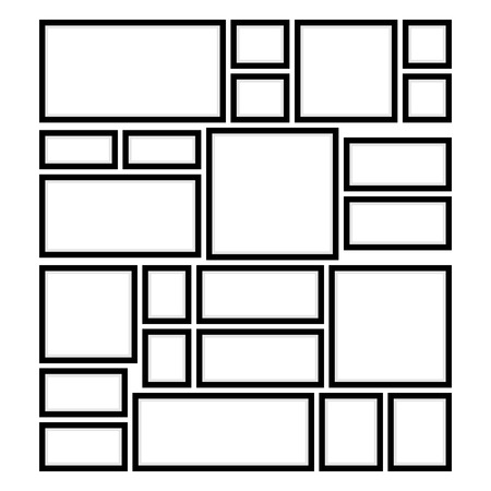 An Example of Arrangement of Square and Rectangular Frames on the Wall for Pictures or Photos, Vector Illustration