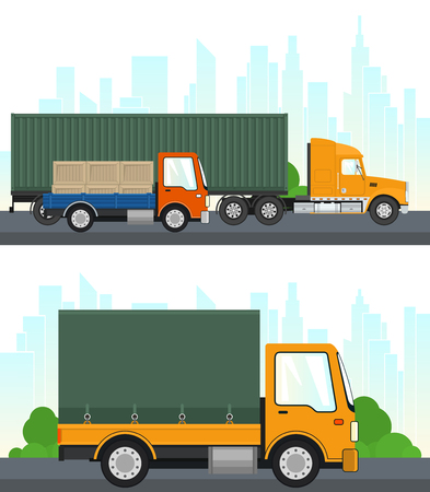Set of Transportation and Logistics Services, Truck and Lorry with Boxes Drive on the Road, Coverd Truck on the Background of the City, Transport Services, Vector Illustration