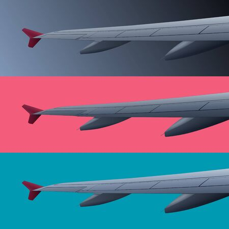 Set of color banners with airplane wing, vector illustration
