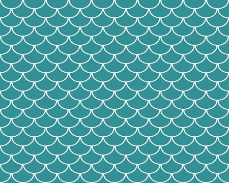 Fish scales seamless pattern, turquoise abstract background, vector illustration Ilustração