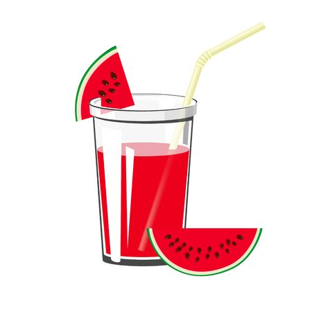 Glass of Summer Refreshing Drink of Watermelon and a Straw Isolated on White Background , Fresh Berry Fruit Juice with Watermelon Slices, Vector Illustration