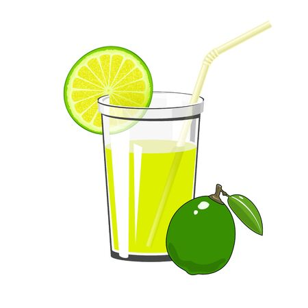 Glass of Fresh Citrus Fruit Juice of Lime and Lemon and a Straw Isolated on White Background , Summer Refreshing Drink with Lime and Lemon Slices, Vector Illustration Ilustração