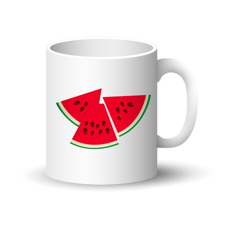 Cup with Berry Fruit Isolated on a White Background, Front View on a Mug with Watermelon Slices and Seeds , Vector Illustration