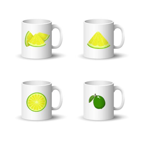 Set of Cups with Juicy Fresh Slice of Citrus Isolated on a White Background, Front View on a Mugs with Lime or Lemon Slices, Vector Illustration