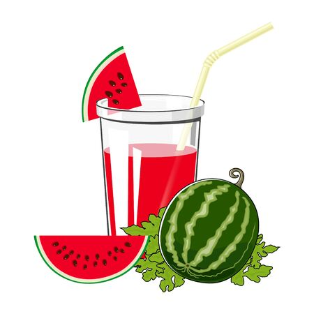 Glass of Fresh Berry Fruit Juice of Watermelon and a Straw Isolated on White Background , Summer Refreshing Drink with Watermelon Slices, Vector Illustration Ilustração