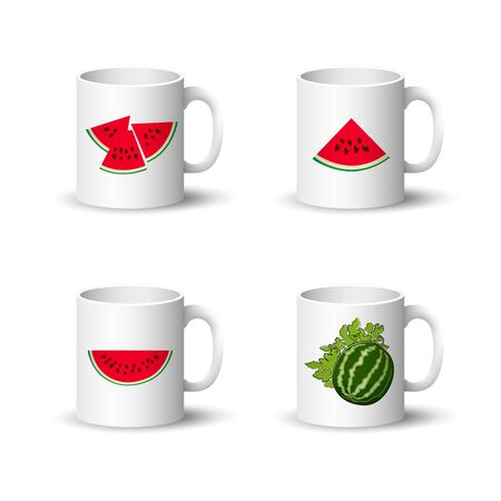 Set of Cups with Berries Isolated on a White Background, Front View on a Mugs with Watermelon Slices and Seeds , Vector Illustration