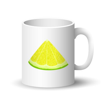 Cup with Juicy Fresh Slice of Citrus Isolated on a White Background, Front View on a Mug with Lime or Lemon Slices , Summer Time, Vector Illustration Ilustração