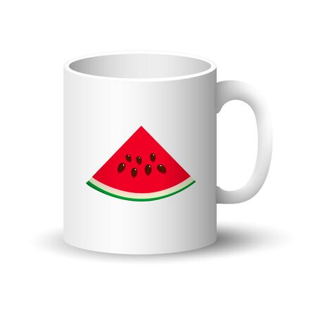 Front View on a Mug with Juicy Fresh Slice of Watermelon and Seeds, Summer Time, Vector Illustration