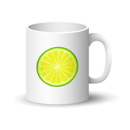 Front View on a Mug with Lime or Lemon Slices ,Cup with Juicy Fresh Slice of Citrus Isolated on a White Background, Summer Time, Vector Illustration