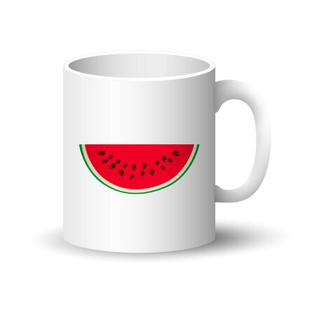 Front View on a Mug with Juicy Fresh Slice of Half Watermelon, Summer Time, Vector Illustration Ilustração