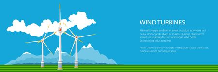 Banner with Horizontal Axis Wind Turbines on a Background of Mountains, Modern Low-Wind Turbine, Vector Illustration