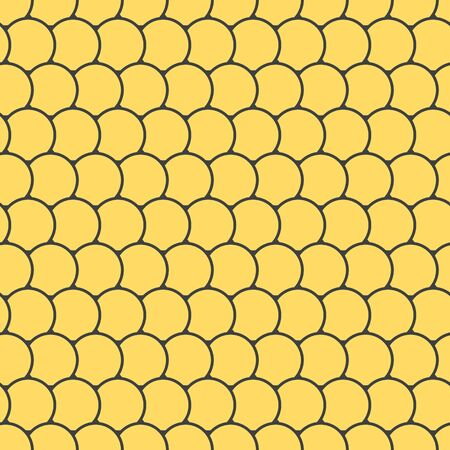 Yellow seamless pattern with round tiles , fairy mermaid tail or scales of the dragon or fish scales , vector illustration