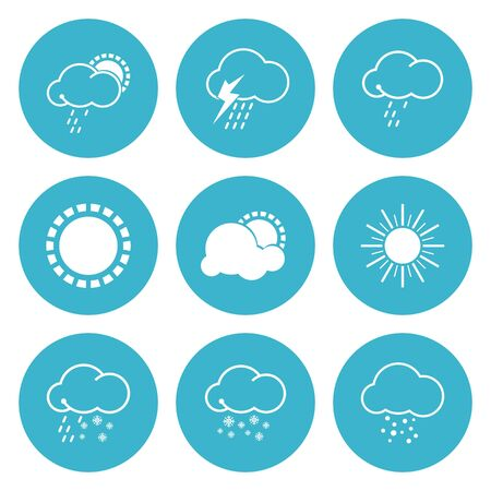 Weather icons set, rains and cloudy, sunny and snowfall, sleet and t-storms, hail and sun, vector illustration