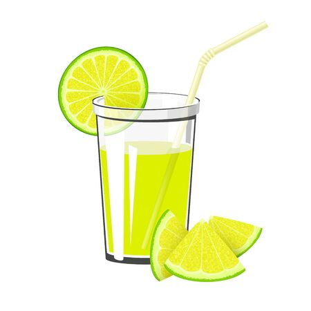 Glass of Fresh Citrus Fruit Juice of Lime or Lemon and a Straw Isolated on White Background , Summer Refreshing Drink with Lime or Lemon Slices, Vector Illustration Ilustração