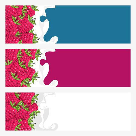 Set of Horizontal Banners with Raspberries in Creamed , Bright Colorful Banners with Fruit Raspberries in Sour Cream, Berry in Milk, Vector Illustration Ilustração