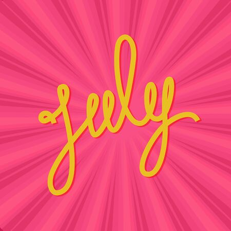 Text July on Pink Background, Retro Sunburst, Vector Illustration