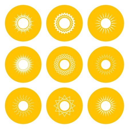 Set of yellow icons with white sun, vector illustration