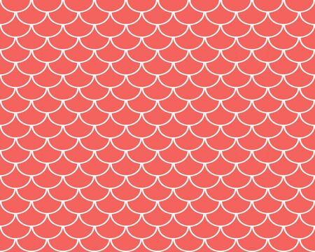 Fish scales seamless pattern, coral colored abstract background, vector illustration