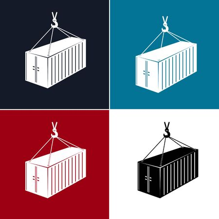Set of Silhouette Container with Crane Isolated on Colorful Background, Container Hanging on Crane Hook, Vector Illustration Illusztráció