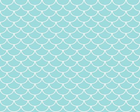 Fish scales seamless pattern, pastel turquoise abstract background, vector illustration