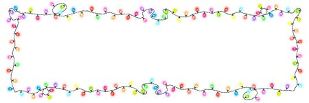 Festive colored glowing garland on white background , Christmas decorations banner, Vector Illustration Ilustração