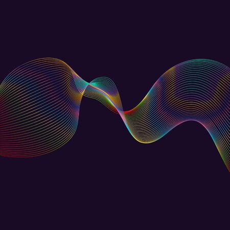 Abstract waves, black background with colorful gradient dynamic linear waves, track equalizer, vector illustration Ilustração