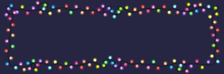 Festive colored glowing garland on a dark background , Christmas decorations banner, Vector Illustration