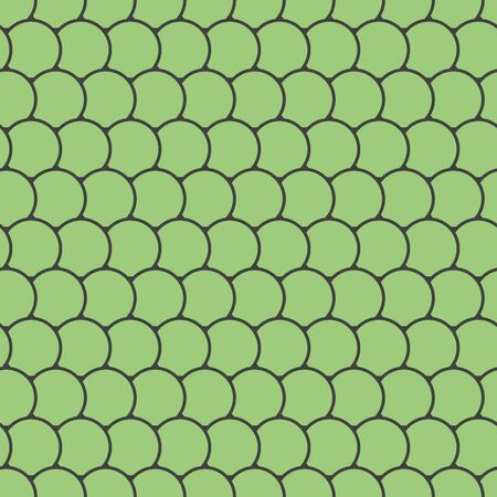 Green seamless pattern with round tiles , fairy mermaid tail or scales of the dragon or fish scales , vector illustration
