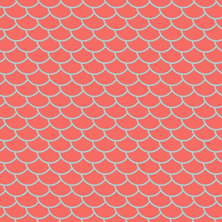Fish scales seamless pattern, coral colored marine background, fairy mermaid tail or scales of the dragon , vector illustration