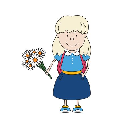 Little schoolgirl with flowers in hand, with a backpack behind her isolated on white, back to school, vector illustration