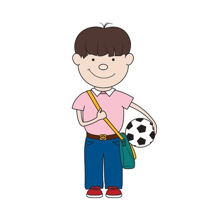 Little schoolboy with a ball in hand and a bag isolated on white, back to school, vector illustration