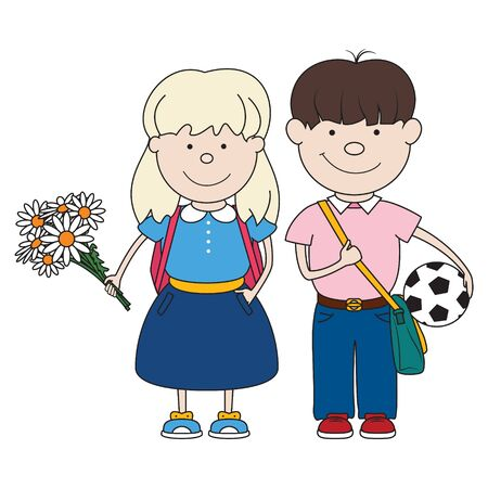 Little schoolboy with a ball in hand and a bag and schoolgirl with flowers and a backpack behind her, schoolchild isolated on white, back to school, vector illustration Stock Illustratie
