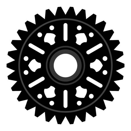 Gear wheel or cog, technology and industry, black and white vector illustration