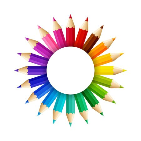 The sun from color pencils with free space in the middle, vector illustration 向量圖像