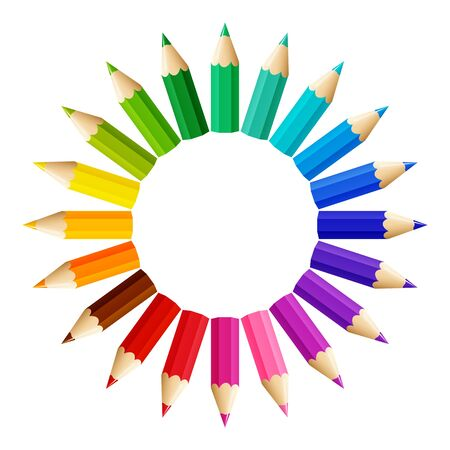 Gradient crayon sun with free space in the middle, vector illustration