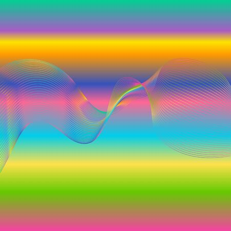 Abstract waves, gradient background with colorful dynamic linear waves, track equalizer, vector illustration