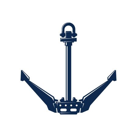 Blue flat anchor isolated on white background, marine equipment, travel and tourism concept, vector illustration Ilustrace