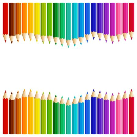 Wave of colored pencils top and bottom of a white background, vector illustration Ilustração