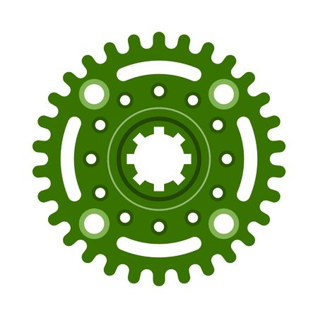 Green gear wheel or cog, technology and industry, black and white vector illustration