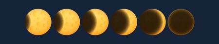 Lunar eclipse, phases of the yellow moon, earth shadow on the moon, space planet with craters in the universe, vector illustration