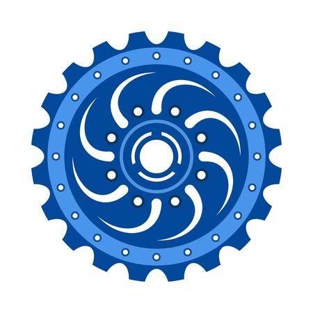 Blue gear wheel or cog, technology and industry, black and white vector illustration Ilustração
