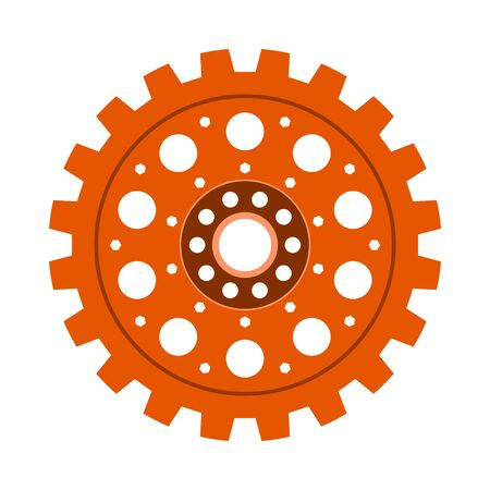 Orange gear wheel or cog, technology and industry, black and white vector illustration