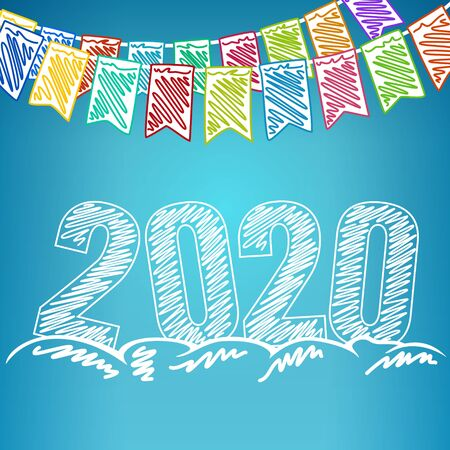 Happy New Year 2020, Holiday Colorful Multicolored Bunting Flags and the Year 2020 in the Drifts of Snow , Drawing Crayons or Markers, Winter Background, Vector Illustration Ilustração