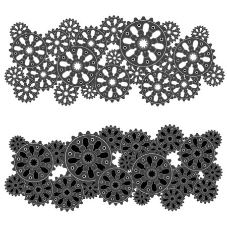 Set of gear wheels or cogs, technology and industry, teamwork concept, black and white vector illustration Ilustração