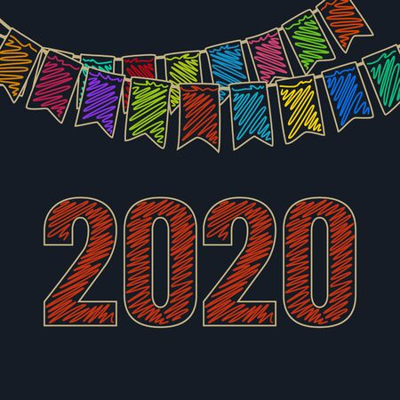 Merry Christmas and Happy New Year with Rad Date of 2020 ,Festive Background, Holiday Colorful Colored Bunting Flags , Drawing Crayons or Markers, Vector Illustration Ilustração