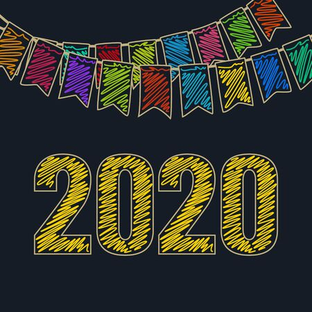 Merry Christmas and Happy New Year with Yellow Date of 2020 ,Festive Background, Holiday Colorful Colored Bunting Flags , Drawing Crayons or Markers, Vector Illustration