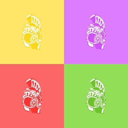 Set of silhouette antiques Roman or Greek or German helmet for head protection soldiers with a crest and wreath of leaves on colorful background, retro pop art concept, vector illustration Illustration
