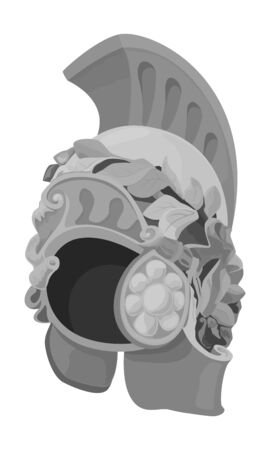 Antiques Roman or Greek or German helmet for head protection soldiers with a crest and wreath of leaves, vector illustration
